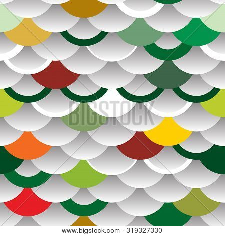 Seigaiha Or Seigainami Literally Means Wave Of The Sea. Abstract Scales Simple Nature Background Wit