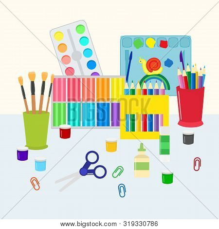 Colorful Stationery Set Vector Illustration. Coloring Pencils, Pens, Scissors And Paints With Brushe