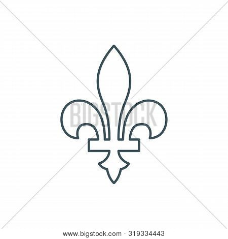 Thin Line Fleur-de-lis Or Lily Flower Icon. Outline New Orlean Symbol Of Support And Recovery. Linea