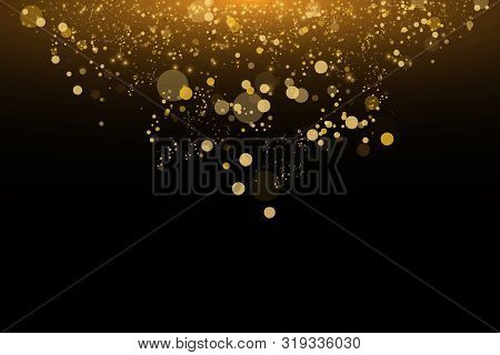 Light Abstract Glowing Bokeh Lights. Bokeh Lights Effect Isolated On Black Background. Festive Golde