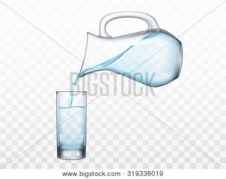 Pouring Crystal Clear Freshwater From Glass Jug In Highball Drinking Glass 3d Realistic Vector Illus