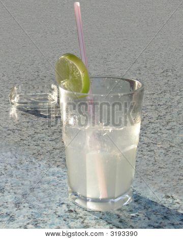 Glass Of Lemonade With Ashtray