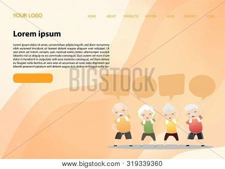 Elderly People Exercising.elderly Doing Exercising With Speech Bubbles. Active Healthy Workout Aged
