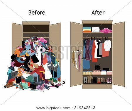 Before untidy and after tidy wardrobe. Messy clothes thrown on a shelf and nicely arranged clothes in piles and boxes. poster