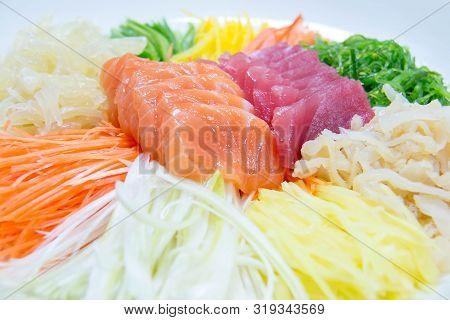 A Delicious Slice Sashimi Salmon And Tuna