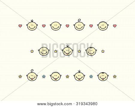 Kids Design Elements. Happy Babies Or Children With Hearts, Stars And Flowers In Lines - Cartoon Vec