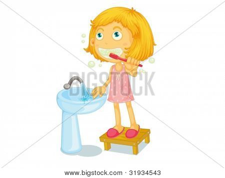 Illustration of child brushing teeth