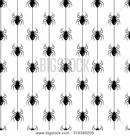 Vector Seamless Halloween Pattern. Black And White Icons Spiders On Stripes. Holiday Design For Gree