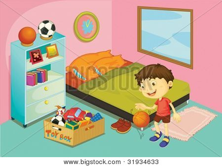 Illustration of a boy in his bedroom