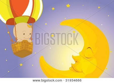 Illustration of baby on the moon