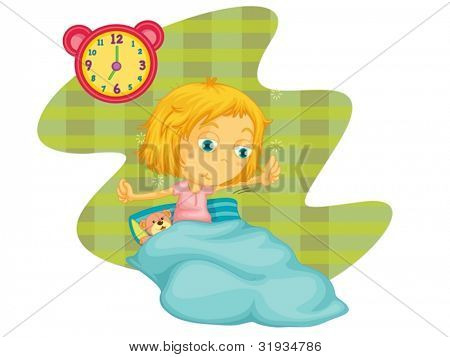 Illustration of a child waking