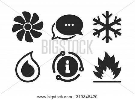 Heating, Ventilating And Air Conditioning Symbols. Chat, Info Sign. Hvac Icons. Water Supply. Climat
