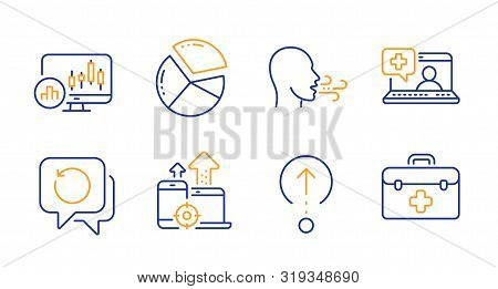 Recovery Data, Seo Devices And Medical Help Line Icons Set. Breathing Exercise, Pie Chart And Swipe