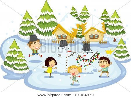 Illustration of kids playing at christmas time