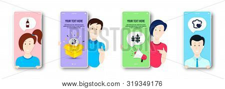 Gluten Free, Mint Bag And Wine Bottle Icons Simple Set. People On Phone Screen. Love Cooking Sign. B