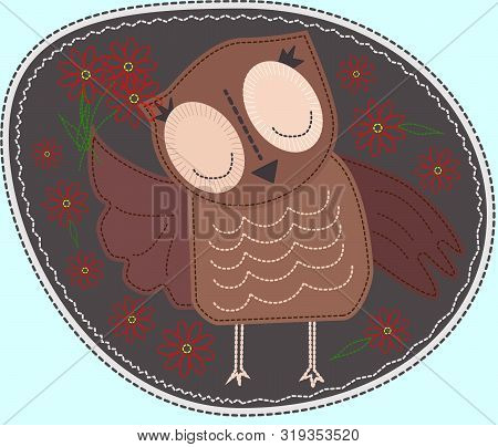Owl Is Holding A Flower. Imitation Of Stripe, Fabric And Stitching, Seam