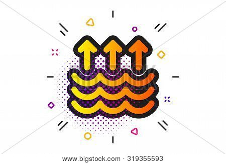Global Warming Sign. Halftone Circles Pattern. Evaporation Icon. Waves Symbol. Classic Flat Evaporat