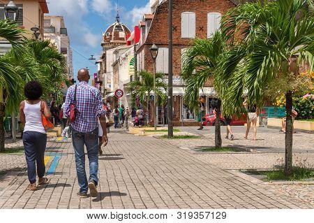 Fort-de-france, Fr: 12 August 2019: Rue De La Republique In Fort-de-france, Martinique, West Indies,