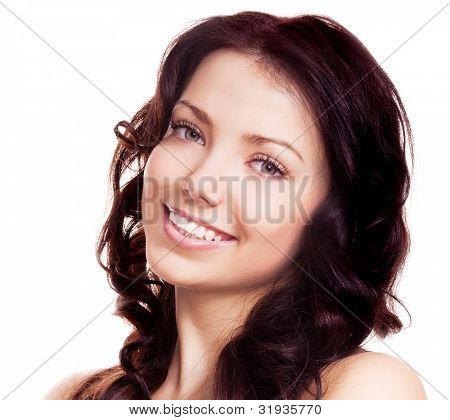 portrait of a young beautiful brunette woman, isolated on white background