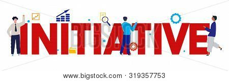 Initiative Word Large Text With Employee Worker Working On Business. Vector Illustration