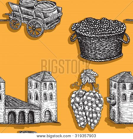 Seamless Background Agriculture Viticulture Building Cart A Barrel Of Grapes. Vector Image. Esp 10