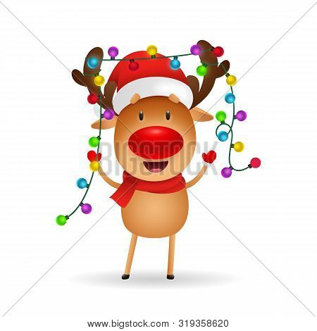 Cheerful Reindeer Celebrating Christmas. Cute Cartoon Deer With Fairy Lights On Antlers. Christmas C