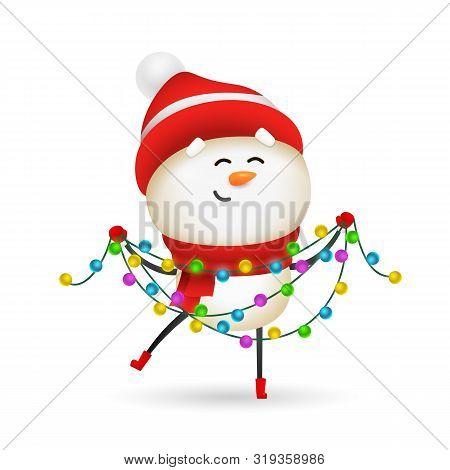 Happy Snowman Celebrating Christmas. Cute Snow Man Holding Fairy Lights. Christmas Concept. Realisti