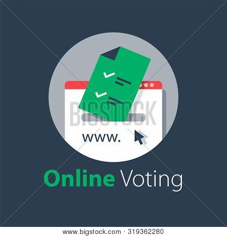 Internet Voting, Submit Online, Government Services, Document With Check Mark, Upload File, Vector F