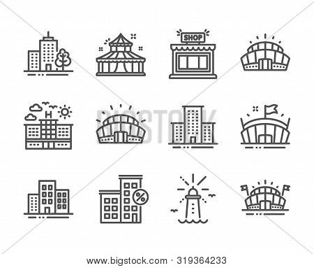 Set Of Buildings Icons, Such As Lighthouse, University Campus, Arena Stadium, Arena, Skyscraper Buil