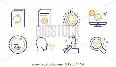 Gear, Innovation And Update Document Line Icons Set. Breathing Exercise, File Settings And Settings
