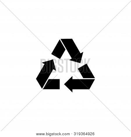 Recycled Arrows, Bio Reuse, Eco. Flat Vector Icon Illustration. Simple Black Symbol On White Backgro