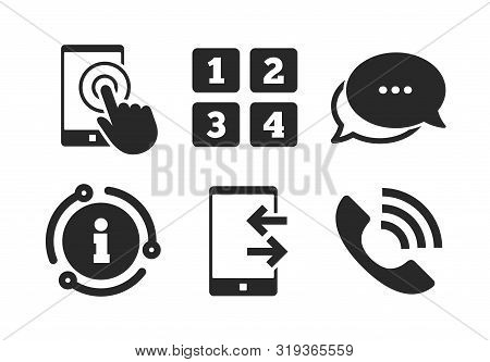 Touch Screen Smartphone Sign. Chat, Info Sign. Phone Icons. Call Center Support Symbol. Cellphone Ke