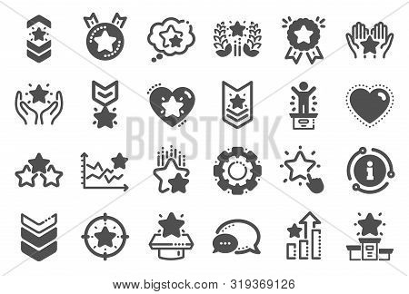 Ranking Icons. First Place, Star Rating And Winner Medal. Shoulder Strap, Army Achievement And Victo