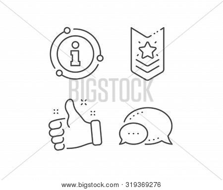 Shoulder Strap Stars Line Icon. Chat Bubble, Info Sign Elements. Star Award Sign. Best Rank Symbol.