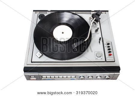 Vintage Record Player With Radio Tuner On White Background