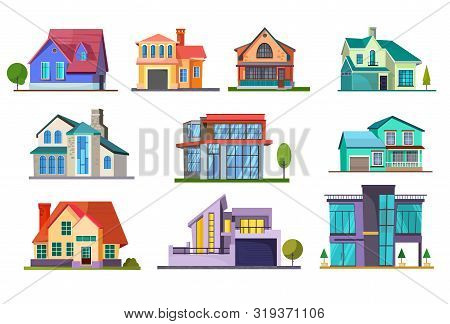 Apartment House Set. Building, Cottage, Villa. Architecture Concept. Vector Illustrations Can Be Use