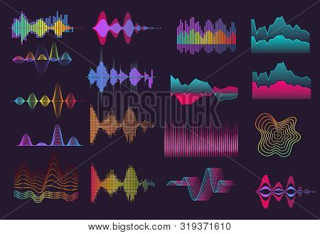 Colorful Sound Wave Set. Neon, Black Background, Voice, Frequency. Sound Concept. Vector Illustratio
