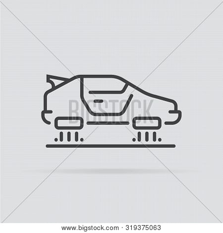 Flying Car Icon In Flat Style Isolated On Grey Background. For Your Design, Logo. Vector Illustratio