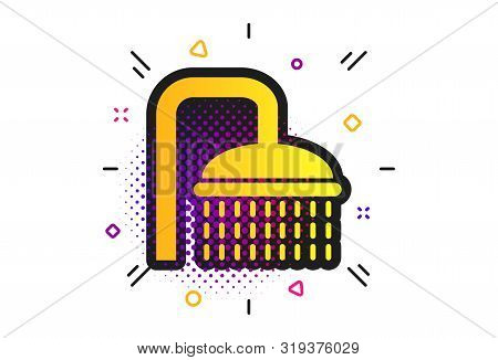 Shower Sign Icon. Halftone Dots Pattern. Douche With Water Drops Symbol. Classic Flat Shower Icon. V