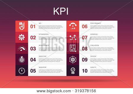 Kpi Infographic 10 Option Template.optimization, Objective, Measurement, Indicator Simple Icons