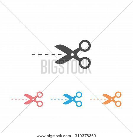Scissors Icon Set In Trendy Flat Style. Scissors Icon Page Symbol For Your Web Site Design. Scissors
