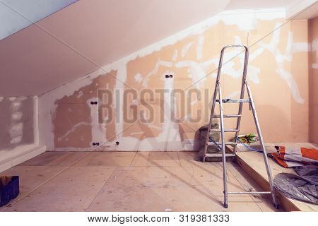 Working Process Of Renovate Room With Installing Drywall Or Gypsum Plasterboard And Ladder With Cons