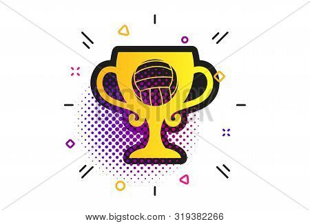 Volleyball Sign Icon. Halftone Dots Pattern. Beach Sport Symbol. Winner Award Cup. Classic Flat Voll