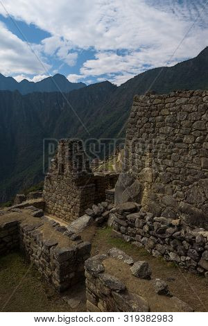 Buildings, Walls And Terraces Of The Mystic Inca City Machu Picchu In The Andes, Peru