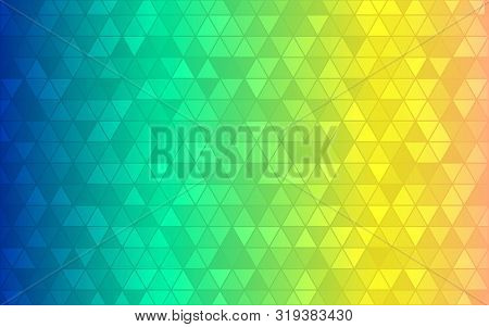 Abstract Triangle Background. Blue Green Yellow Gradient. Bright Color Geometric Backdrop. Modern Gr