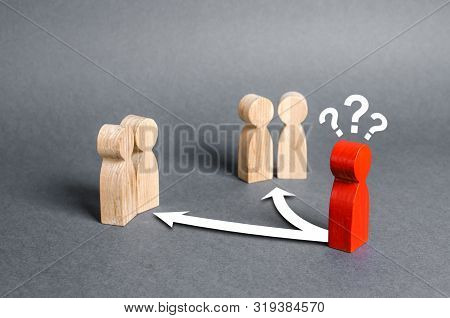 Red Human Figure At The Crossroads Between Two Groups Of People. The Choice Of Friends, Business Par