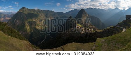 Panoramic View On The Sacred Inca City, Machu Picchu, Peru