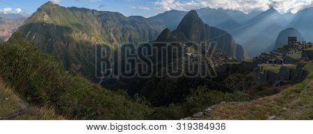 Panoramic View On The Sacred Inca City, Machu Picchu, Peru