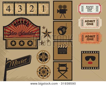 Vintage Cinema Labels: Marquee, filmstrip, signpost, cinema tickets, icons and other design elements