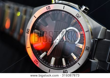 Luxury Quartz Watch With Analog Hands And A Digital Display And A Solar Battery, Tachometer.